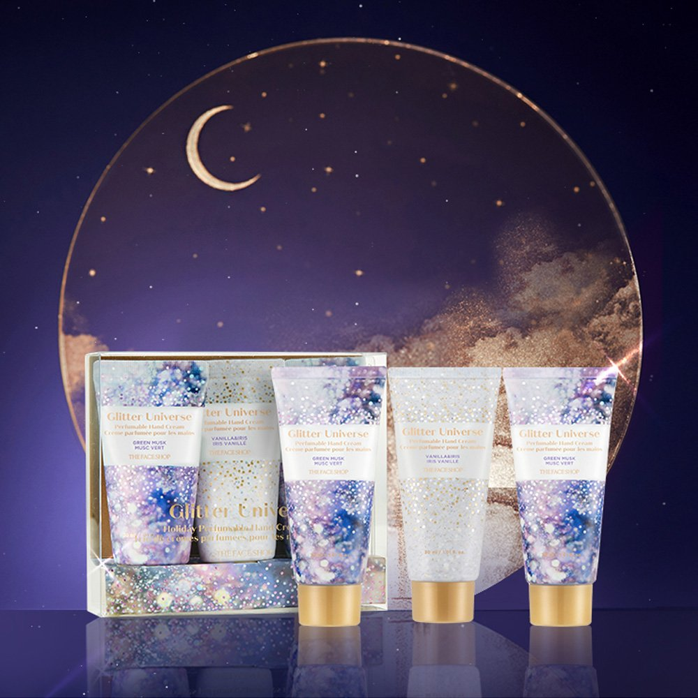 Bộ Kem Dưỡng Da Tay THEFACESHOP GLITTER UNIVERSE HOLIDAY PERFUMABLE HAND CREAM TRIO