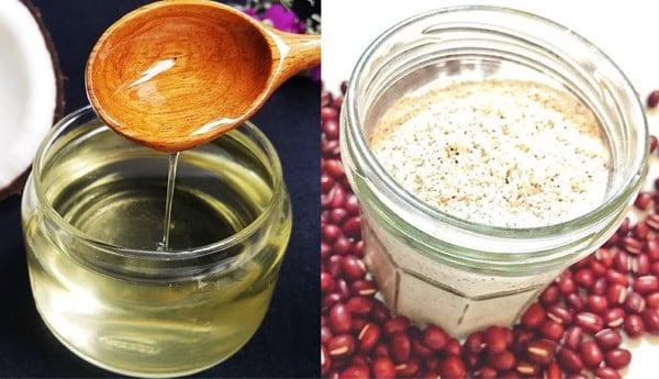 dầu dừa và bột đậu đỏ