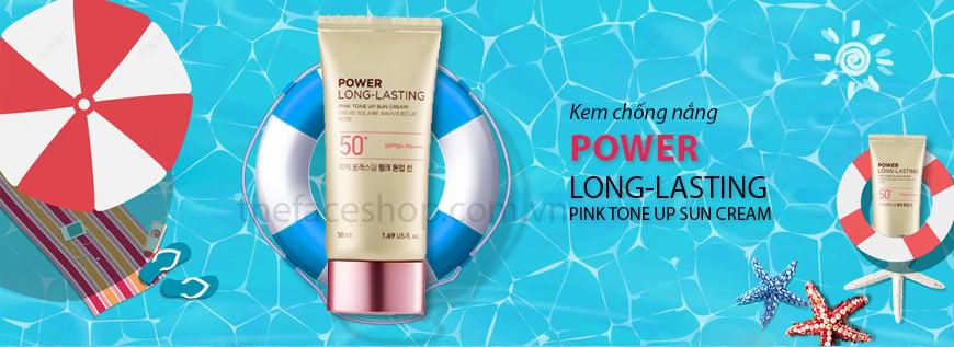 Kem Chống Nắng Nâng Tone Da THEFACESHOP POWER LONG LASTING PINK TONE UP SUN CREAM SPF50+ PA++++ (50ml)