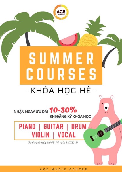 Summer promotion for all music courses 2019 at ACE Music