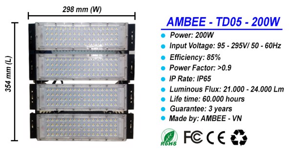 TD05 - LED Flood Light 200W bền