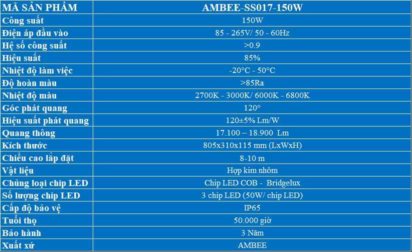 Bảng thông số sản phẩmĐèn LED Đường Phố 150W mã SS017