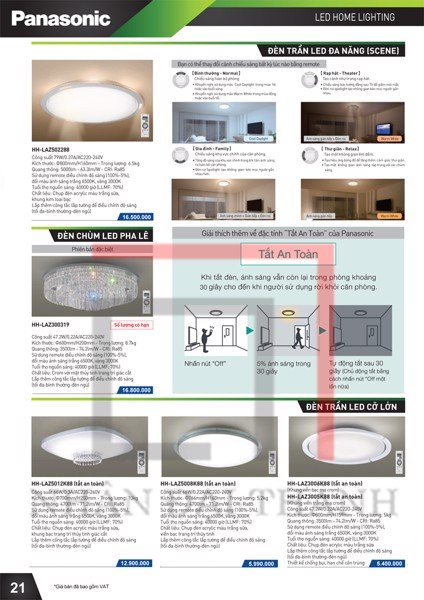 Catalogue đèn trần Led Panasonic