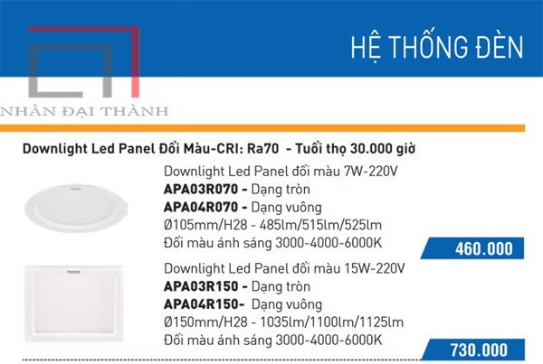 * Catalogue Đèn led downlight anchor Panel đổi màu