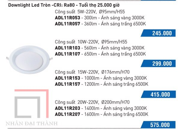 * Catalogue Đèn led downlight anchor tròn:
