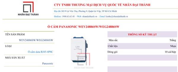 Thông số kỹ thuật của Ổ cắm Panasonic WEV22886SW/WEG44886SW