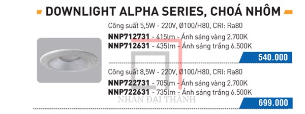 Catalogue của Đèn Downlight Alpha Panasonic