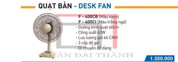Catalogue quạt bàn Panasonic