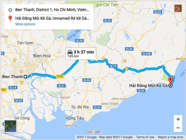 bản đồ đường đi mũi kê gà   Món Miền Trung