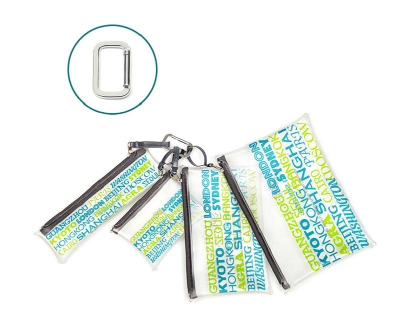 Set 4 túi đựng mỹ phẩm trong suốt Msquare 172255 nối bằng móc khóa