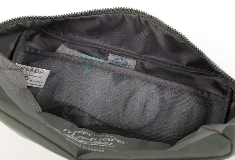 Cận cảnh chất liệu bên trong của túi đựng giày 3 ngăn Msquare Convenient