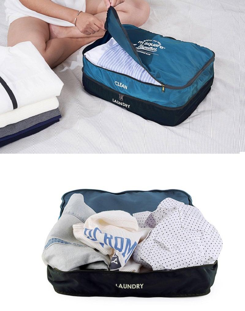 Cận cảnh thiết kế túi đựng quần áo 2 tầng Msquare Double Ply