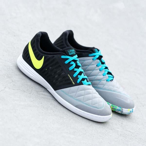 Giày đá banh chính hãng. Giày Nike. NIKE LUNARGATO II IC - BLACK/WOLF GREY/ LITE CURRENT BLUE