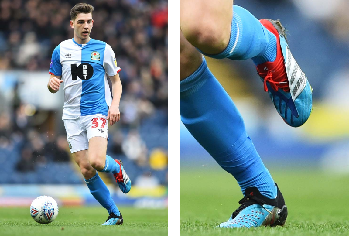 Joe Rankin-Costello của Blackburn. Mang adidas Predator Archive Mutator