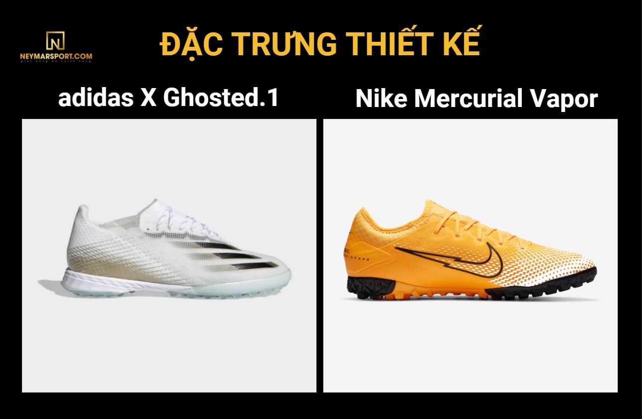 So sánh đặc trưng thiết kế của Adidas X ghosted.1 và Nike Mercurial Vapor Pro 13 Day Break
