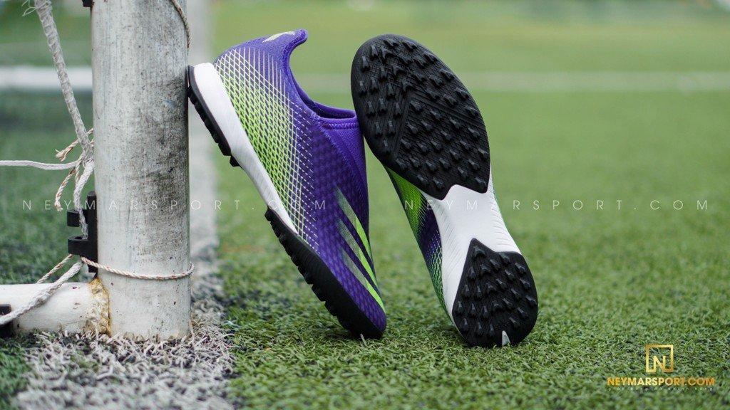 Giày đá bóng không dây Adidas X Ghosted .3 Laceless TF Precision To Blur