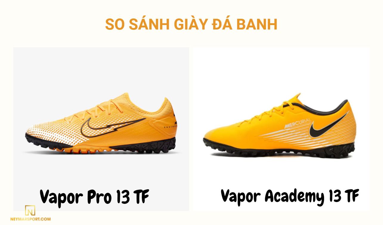 So sánh thiết kế giày đá banh Nike Mercurial Vapor 13 bản Pro và Academy