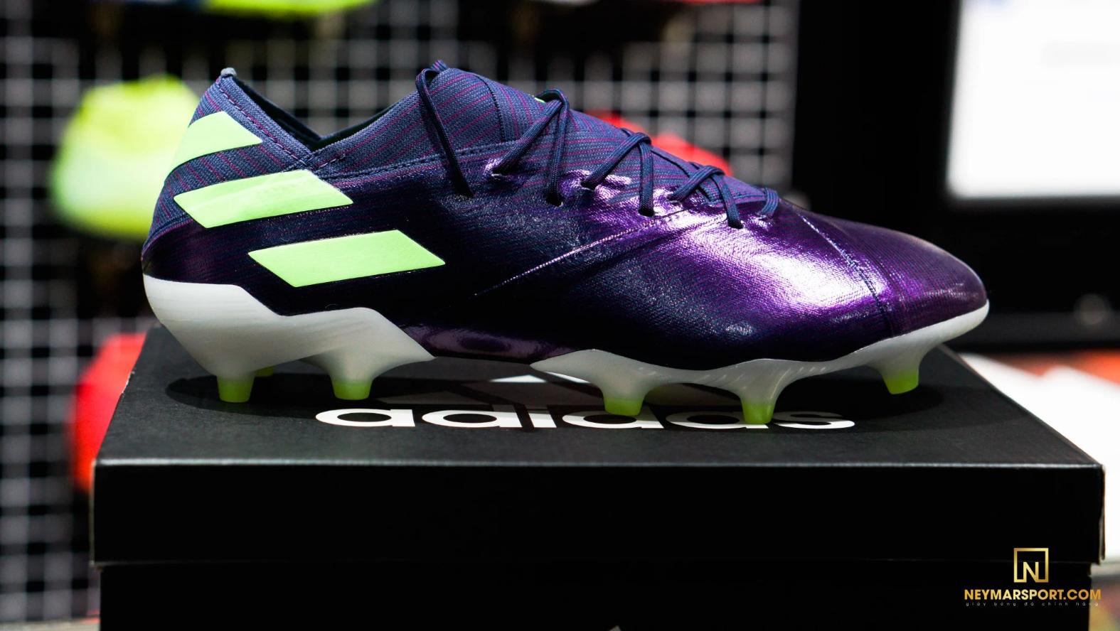 Giày cỏ tự nhiên Adidas Nemeziz Messi 19.1 FG/AG - Tech Ink/Signal Green/Glory Purple