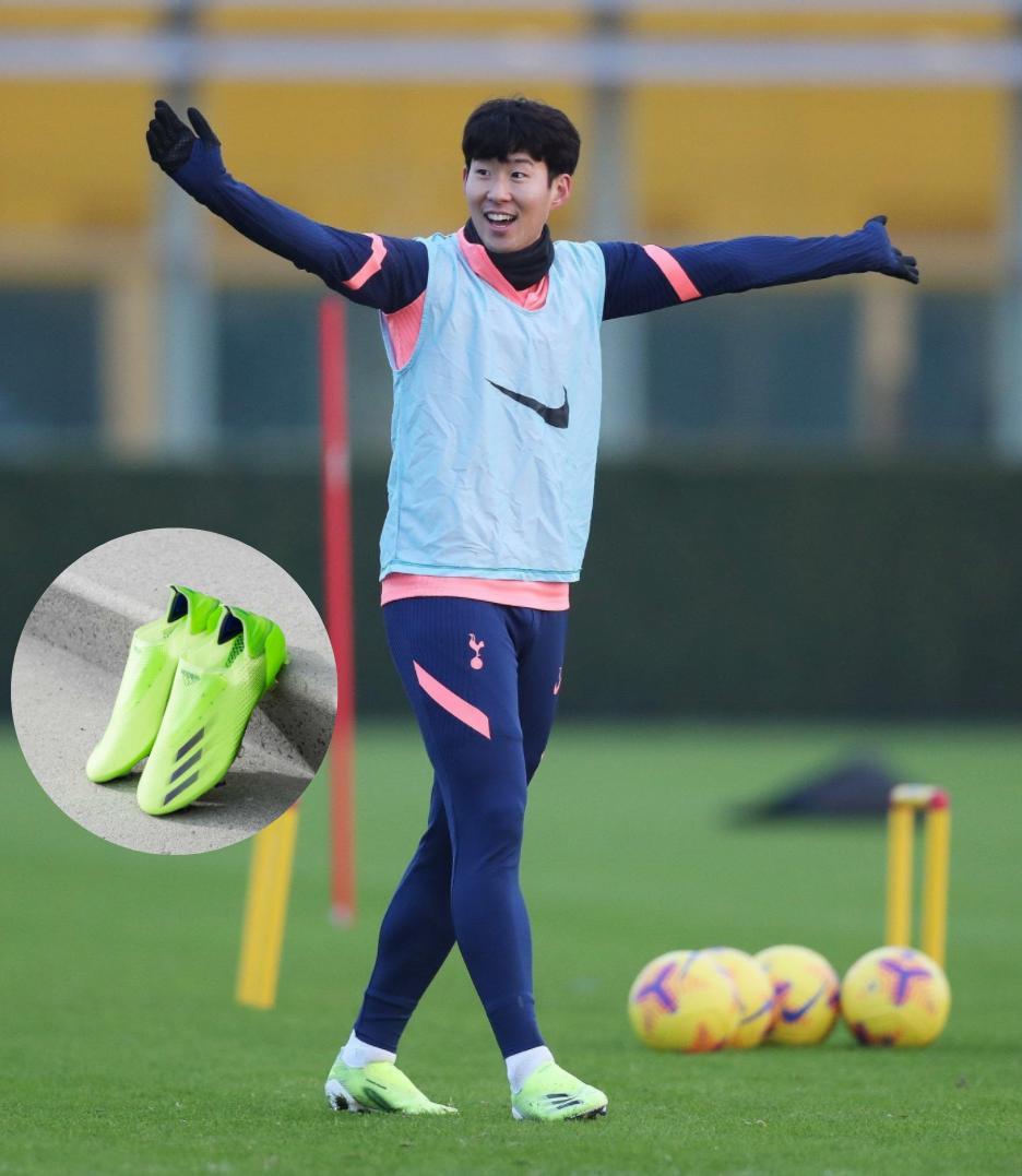 Son Heung Min mang giày đá bóng Adidas X Ghosted + Precision to Blur