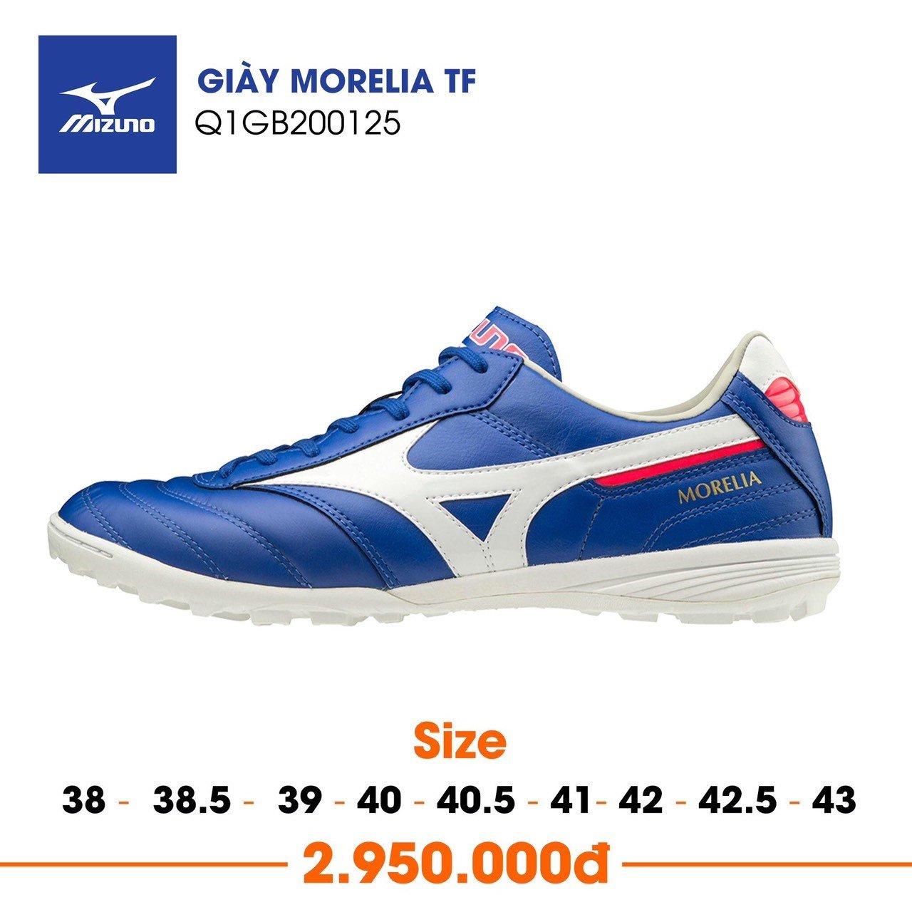 Morelia TF là mẫu giày cỏ nhân tạo cao cấp nhất của Mizuno với cấu tạo bằng da tự nhiên Kagaroo nguyên khối.