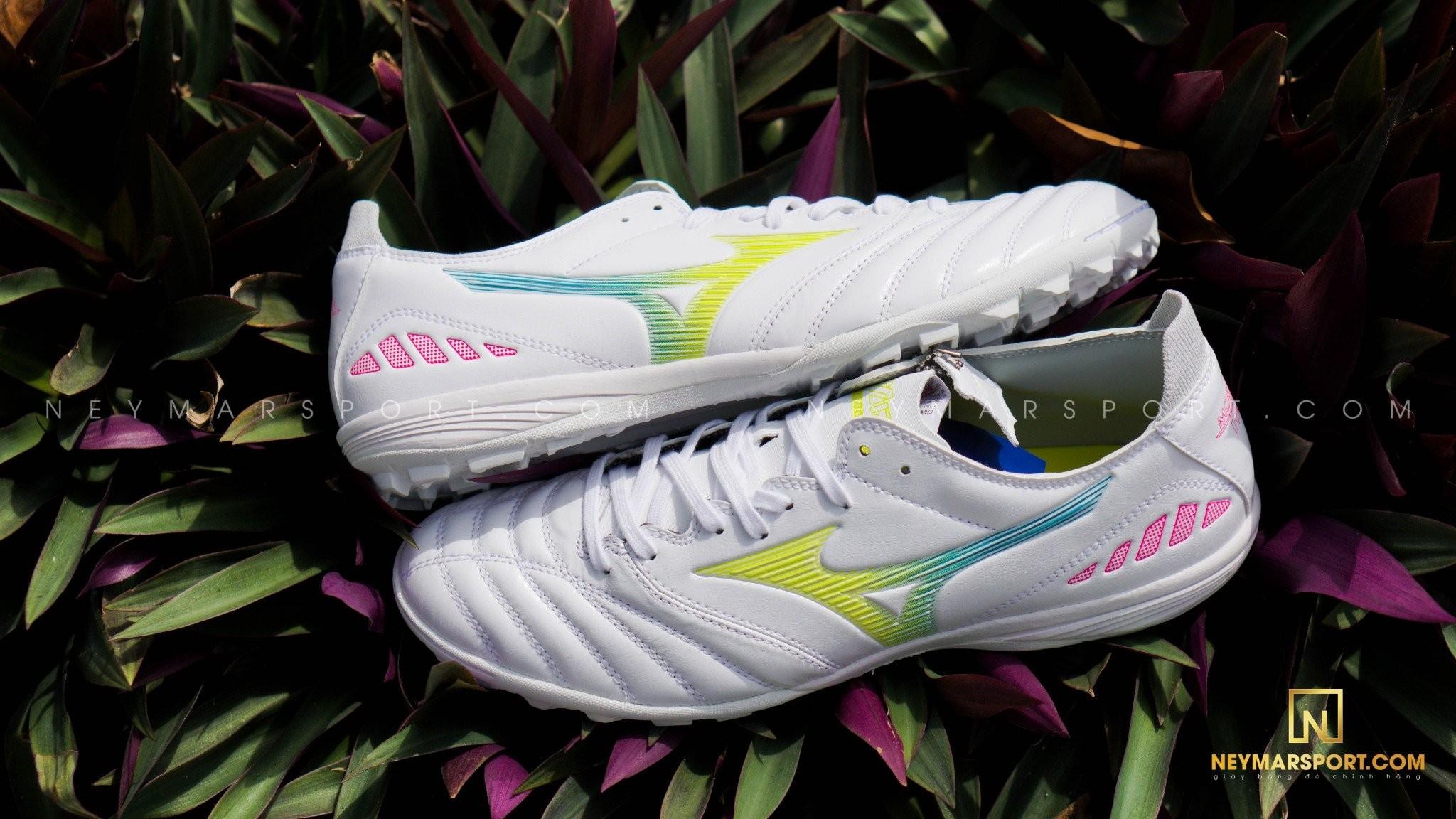 Giày đá bóng Mizuno Morelia Neo III Pro AS TF - White/Yellow/Pink