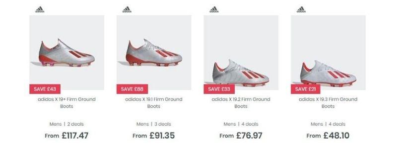 Các phân khúc giày của Adidas