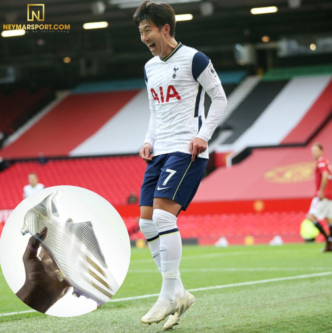 Son Heung Min mang giày đá banh Adidas X Ghosted+ ăn mừng bàn thắng trong trận ( Tottenham vs M.U)