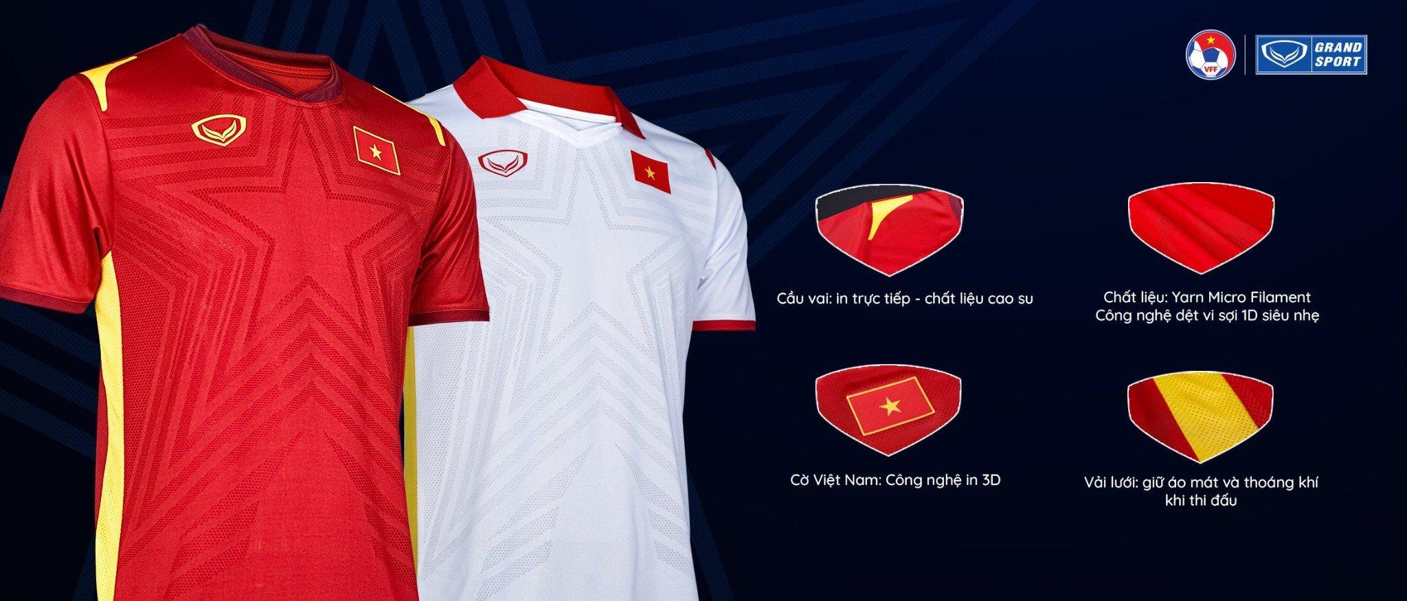 Aó thi đấu Grand Sport đội tuyển Việt Nam 2021 siêu xịn, siêu đỉnh tại Neymarsport