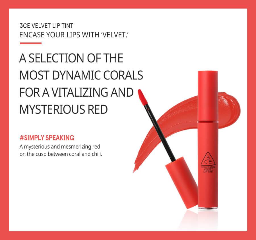 Son Kem Lì 3CE Velvet Lip Tint #Absorbed - Đỏ Hồng