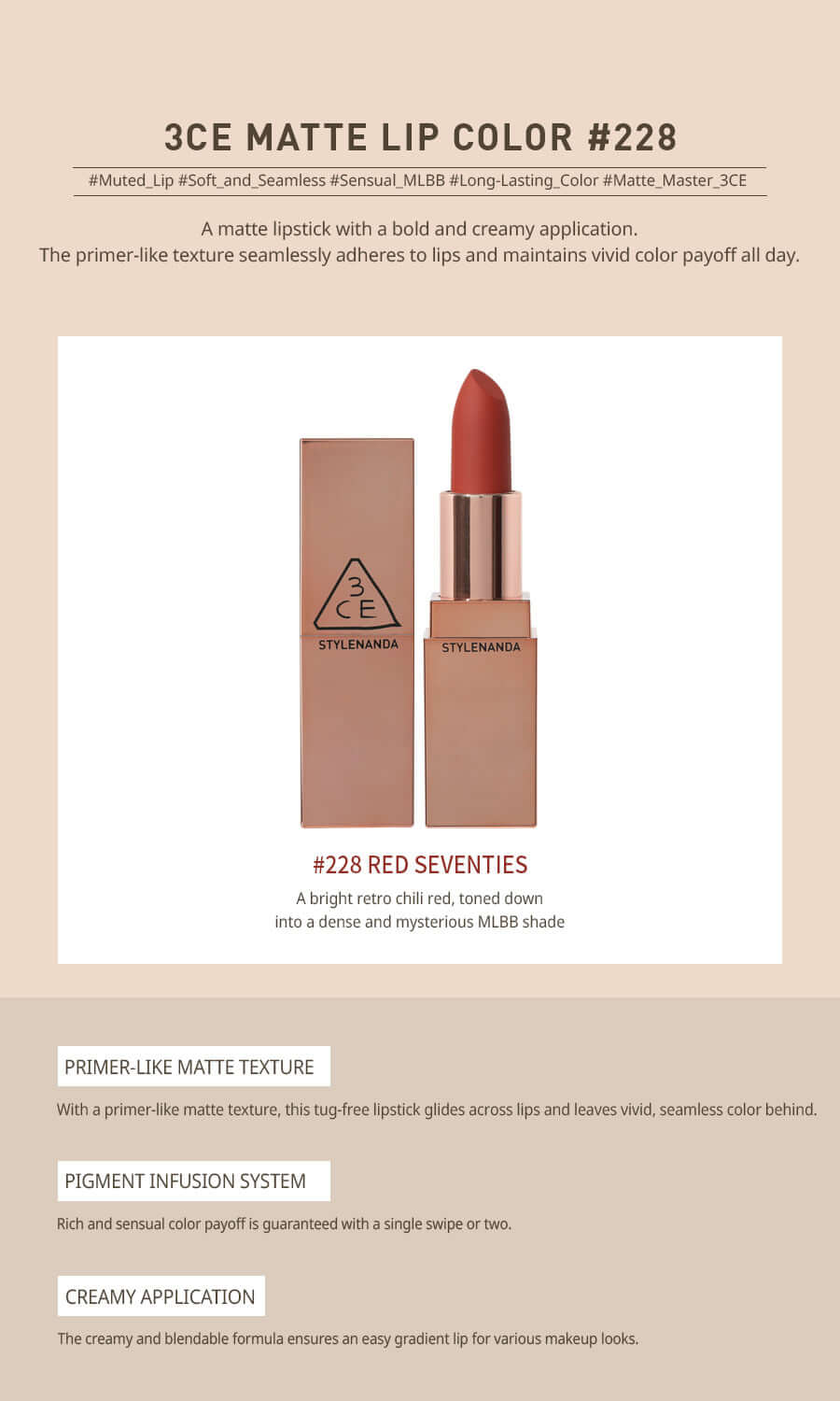 3CE Matte Lip Color #228 Red Seventies