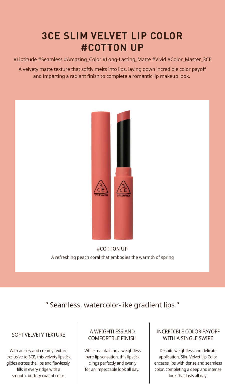 3CE Slim Velvet Lip Color #Cotton Up