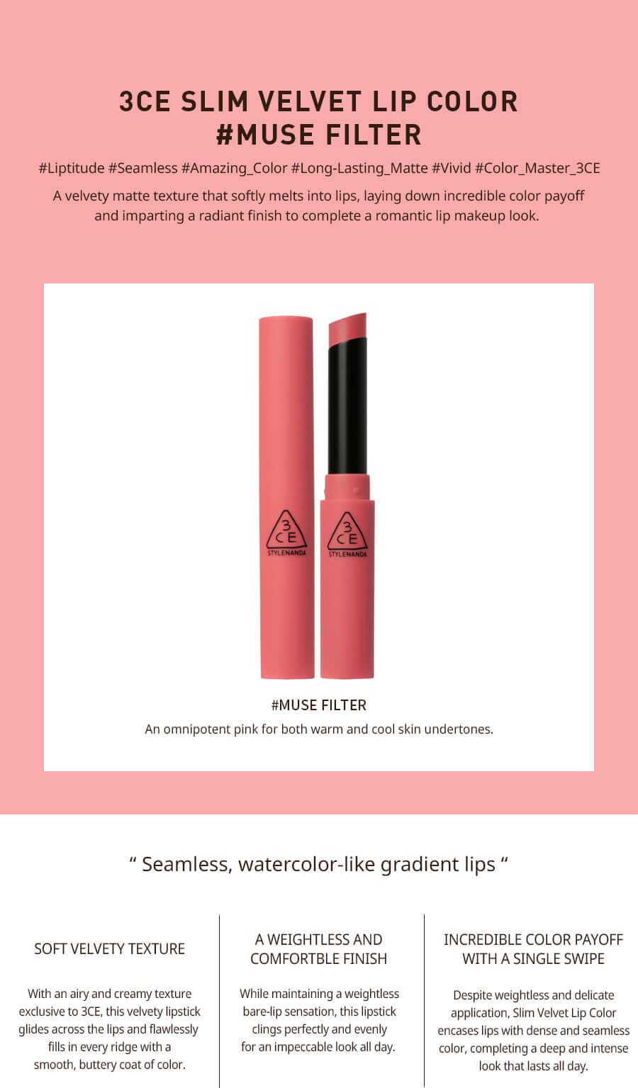 Son Thỏi 3CE Slim Velvet Lip Color #Muse Filter
