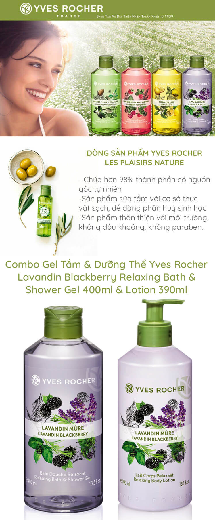 Combo Gel Tắm & Dưỡng Thể Yves Rocher Lavandin Blackberry Relaxing Bath & Shower Gel 400ml & Lotion 390ml