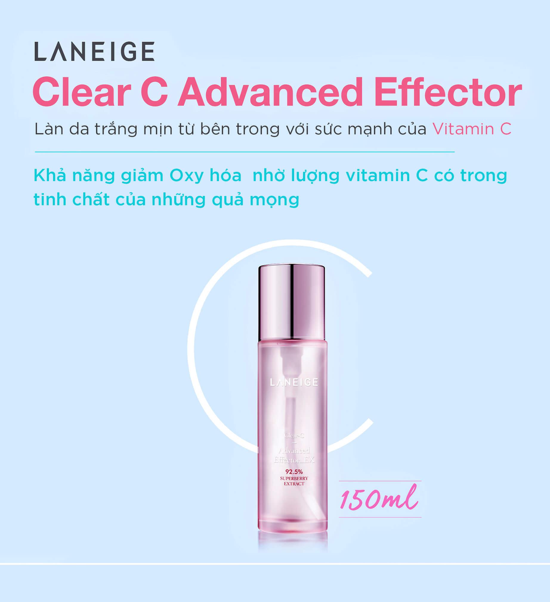 Tinh Chất Bổ Sung Vitamin C Laneige Clear C Advanced Effector EX The Frist Boosting Essence 150ml
