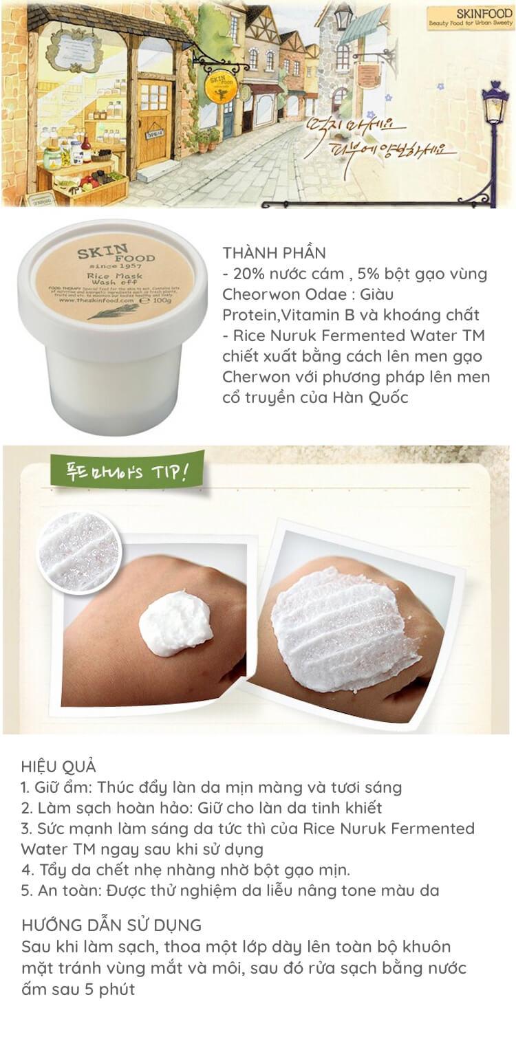 Mặt Nạ Rửa Tẩy Tế Bào Chết Skinfood Soft Scrub Rice Mask Wash Off 100g
