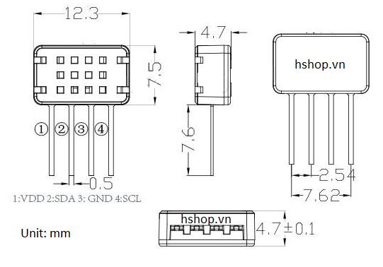 Cảm Biến Độ Ẩm, Nhiệt Độ DHT12 Humidity Temperature Sensor