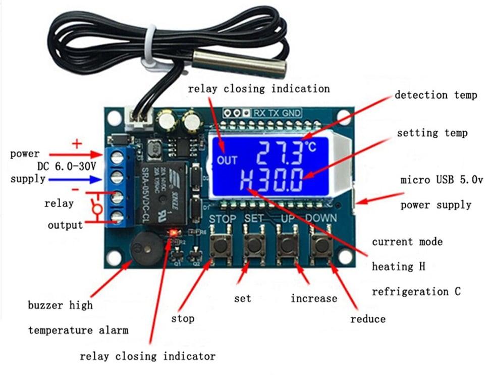 Cảm biến nhiệt độ Relay chỉnh mức hiển thị LCD XY-T01