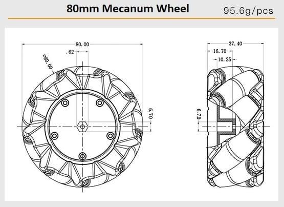Cặp bánh xe Mecanum L + R nhựa đường kính 80mm