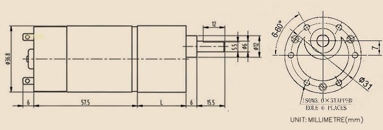 Động cơ DC giảm tốc JGB37-550 DC Geared Motor