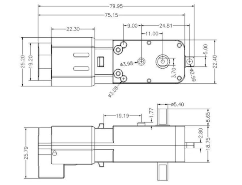 Động cơ DC Servo Geared TT Motor with Encoder Ratio 1:45