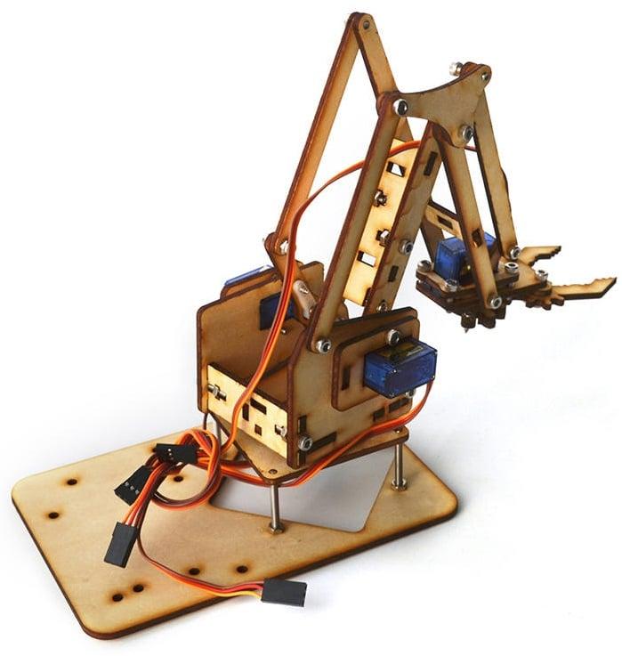 Khung cánh tay máy ARM Robot 4 DoF gỗ (không bao gồm động cơ RC Servo)