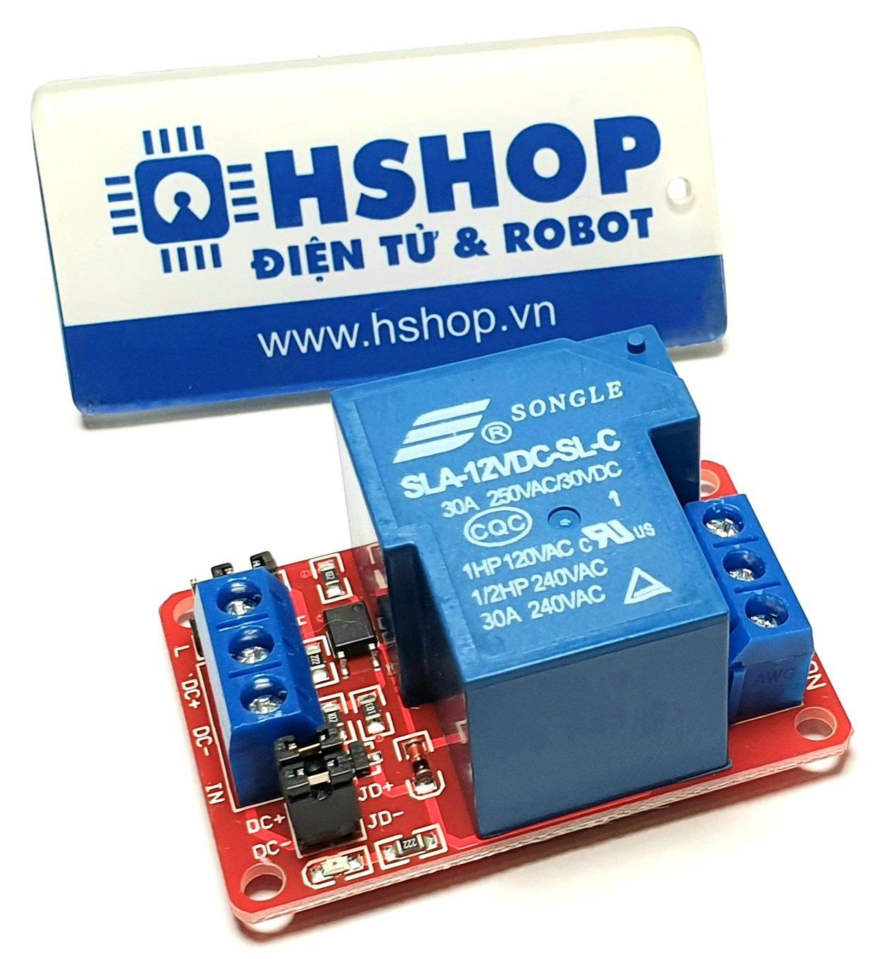 Mạch 1 Relay Opto chọn mức kích HighLow (12VDC) 30A