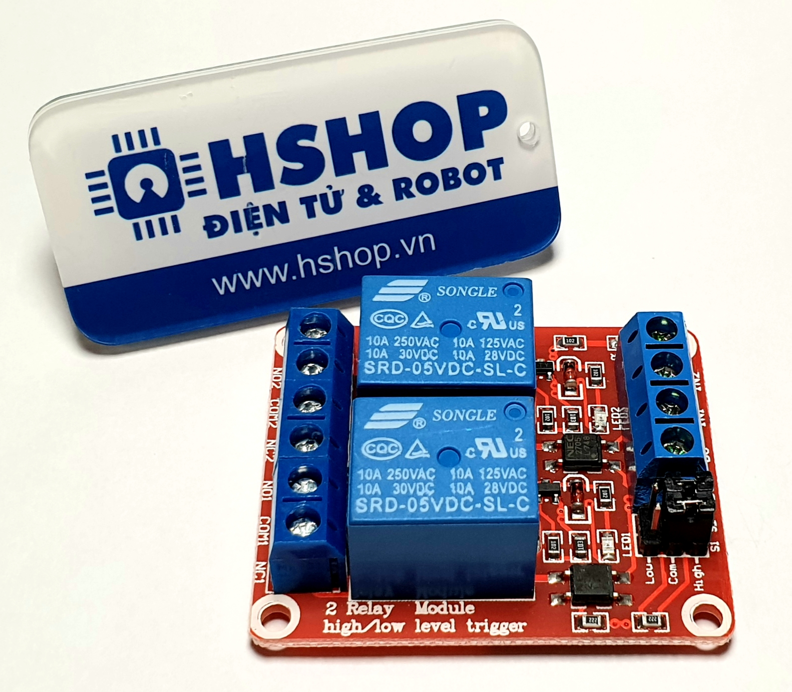 Mạch 2 Relay Opto chọn mức kích HighLow (5/12/24VDC)