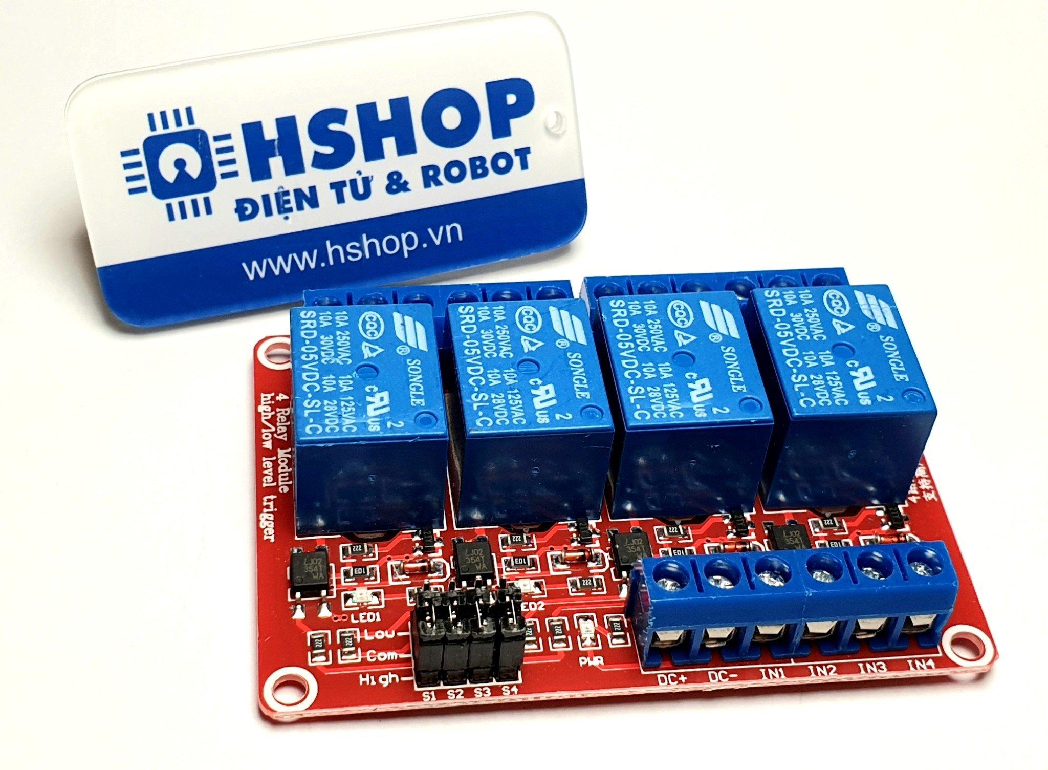 Mạch 4 Relay Opto chọn mức kích HighLow (5/12/24VDC)