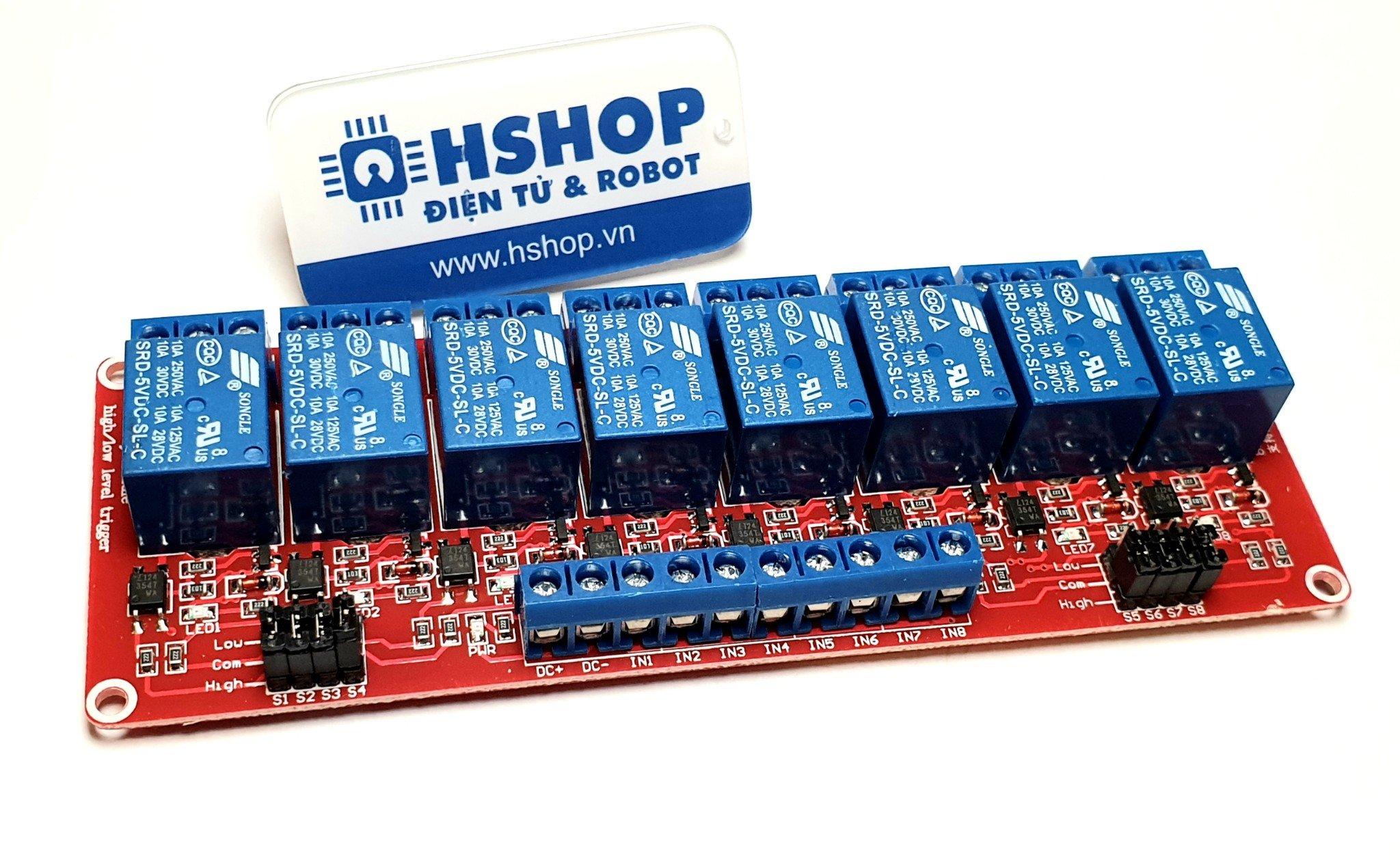Mạch 8 Relay Opto chọn mức kích HighLow (51224VDC)