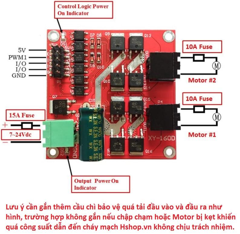 Mạch điều khiển động cơ DC Motor Driver XY-160D