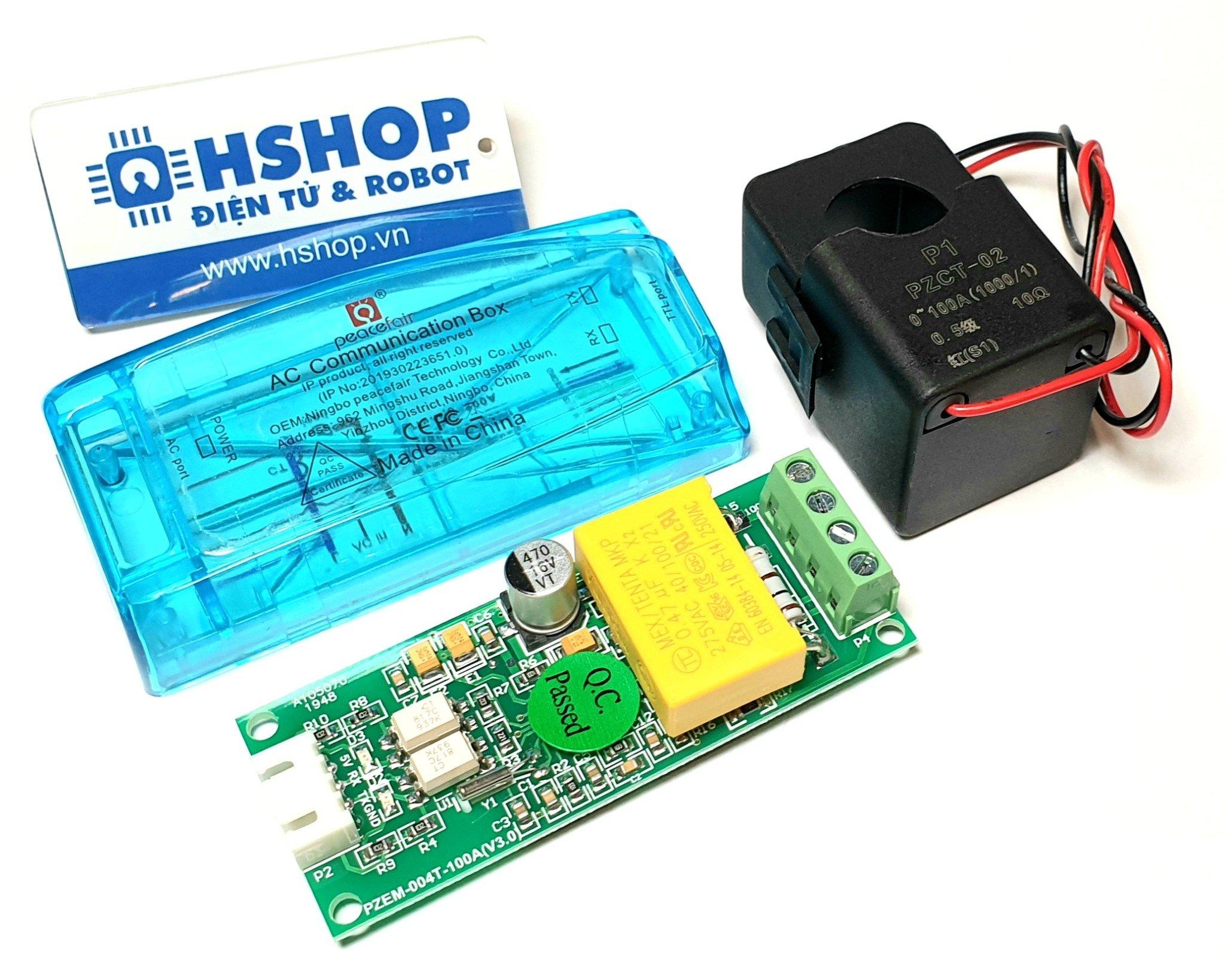 Mạch đo điện AC đa năng 100A giao tiếp UART PZEM-004T