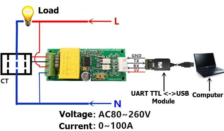 Mạch đo điện AC đa năng giao tiếp UART PZEM-004T