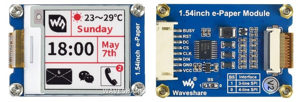 Màn hình Waveshare 1.54inch E-Ink display module, three-color (B)