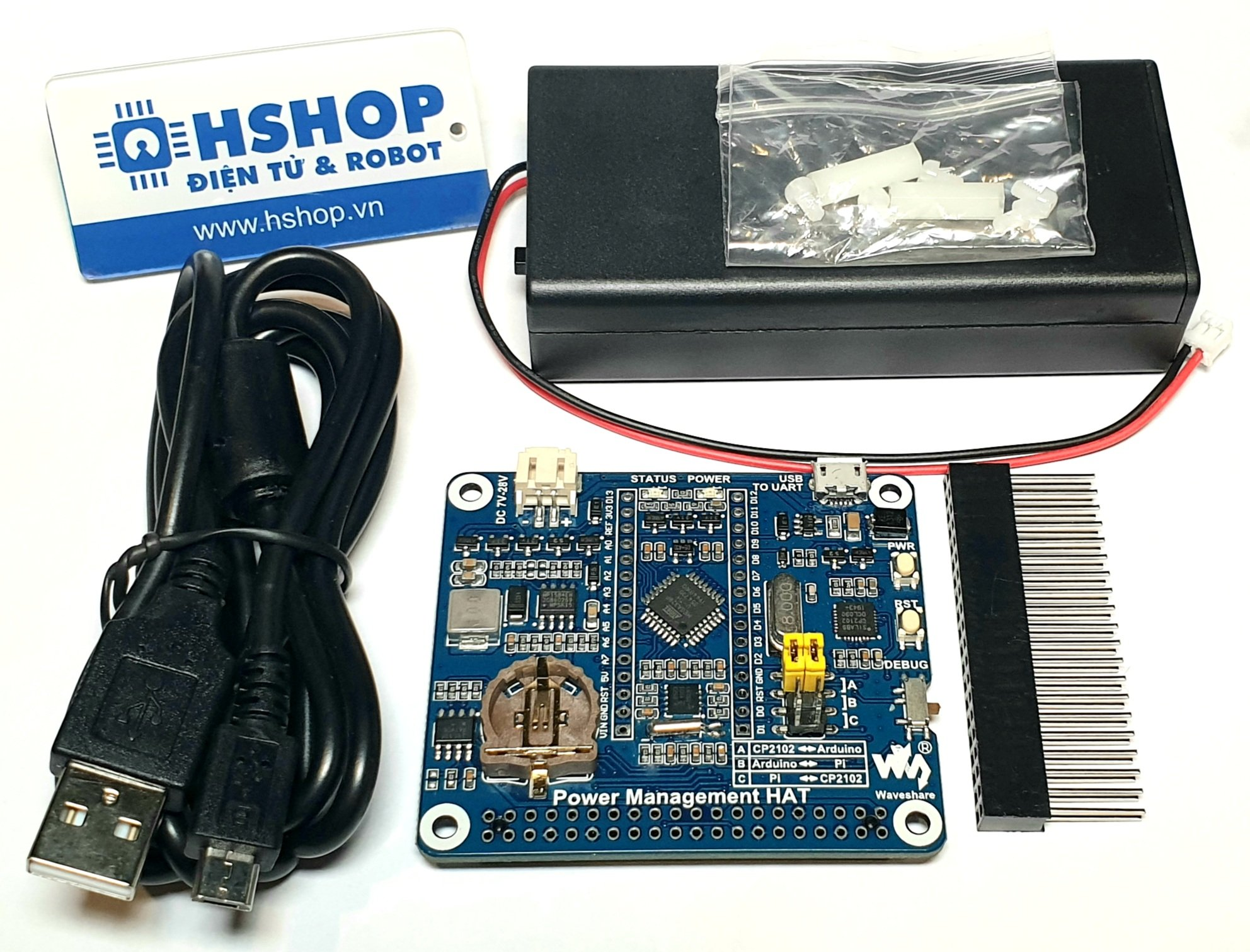 Mạch Waveshare Power Management HAT for Raspberry Pi, Embedded Arduino MCU and RTC